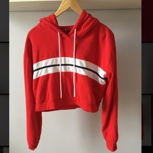 Red cropped hoodie with white stripe